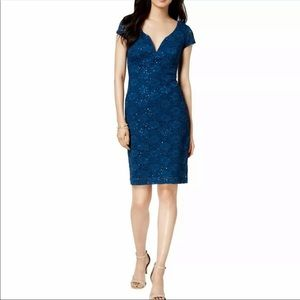 Connected Apparel 16 Blue Sequined Dress